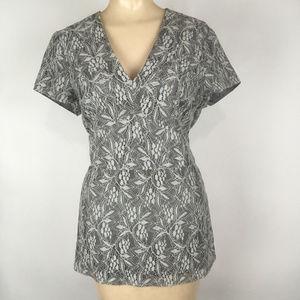 Gray Lace Print Top Blouse Short Sleeve V-Neck